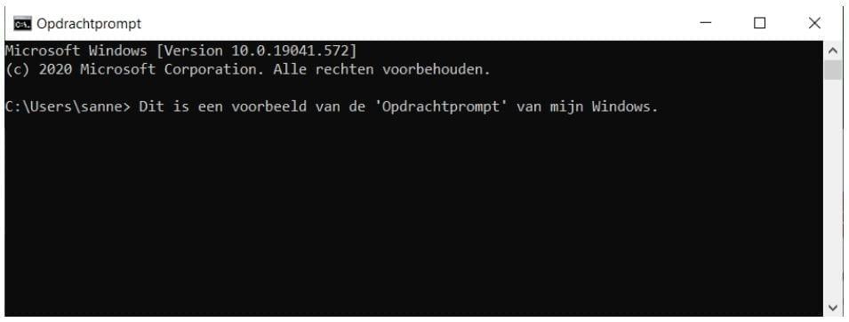 Een prompt van een Windows als voorbeeld voor artificial intelligence.
