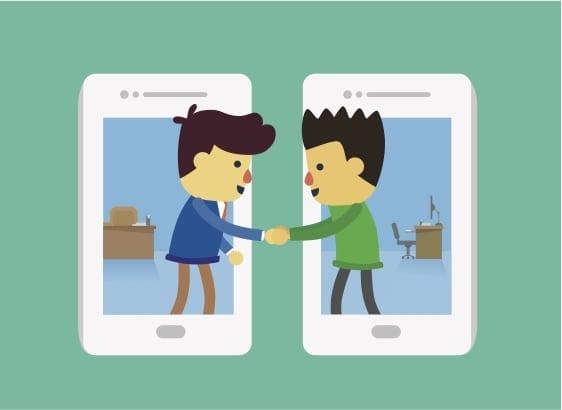 social selling, handdruk tussen twee personen