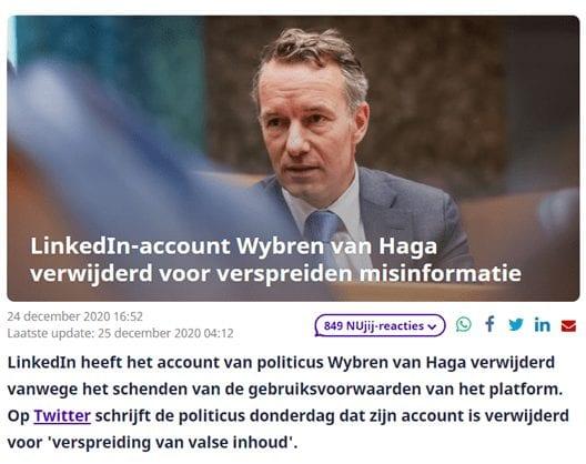 Nieuwsbericht over het verwijderde account van Wybren van Haga.