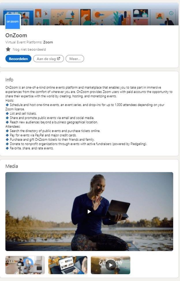 2e deel screenshot van de bedrijfspagina van Zoom.