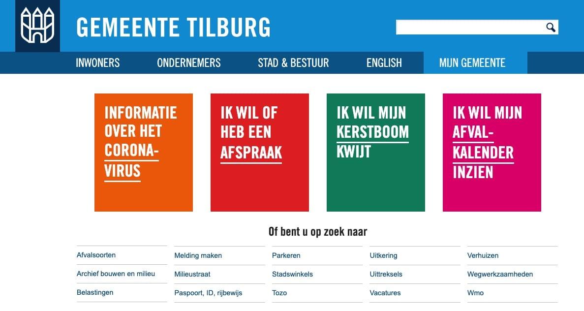 De menustructuur van een informatieve overheids-website.
