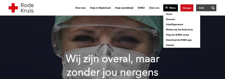 De navigatiestructuur van de website van het Rode Kruis.