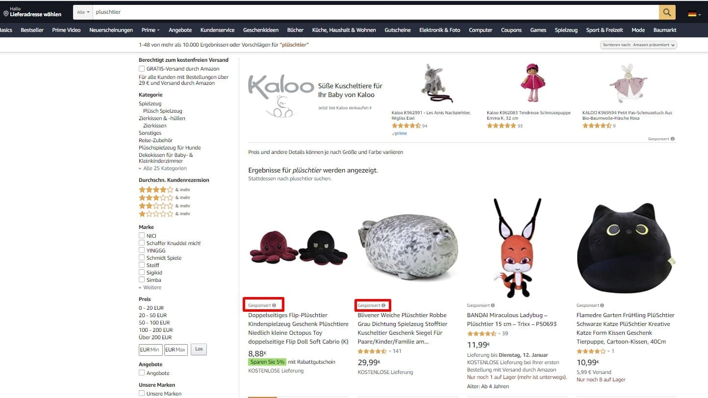 Voorbeeld van Amazon Sponsored Product Ads.