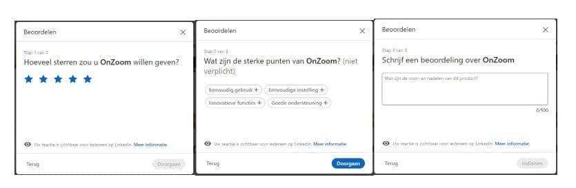 Beoordelingen op het LinkedIn-account van Zoom.