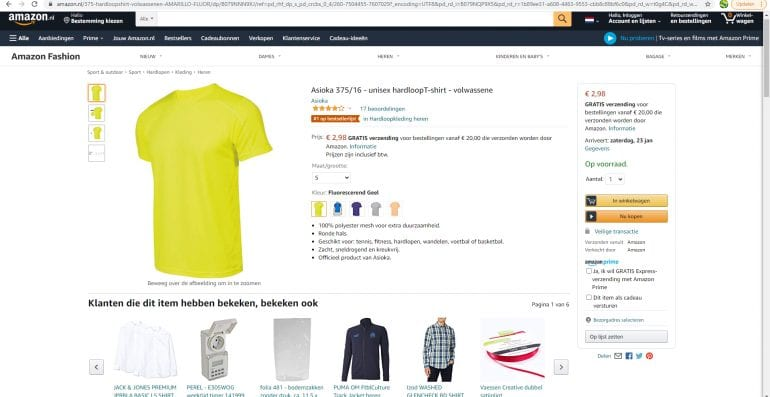 verkopen via Amazon, screenshot.
