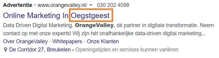 Screenshot locatie in Google Ads