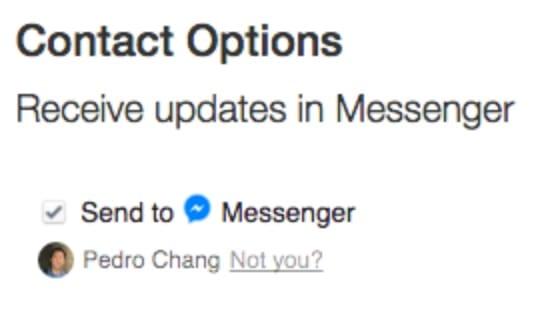 Checkbox Facebook Messenger.