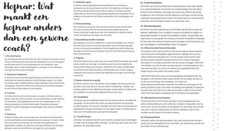 16 rollen van de hofnar