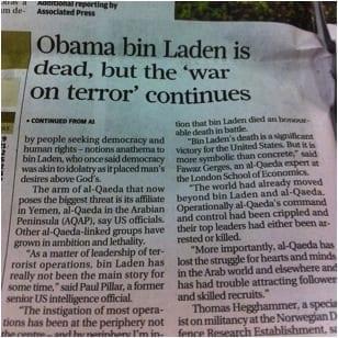 Een van de taalfouten: een krantenkop die gaat over Obama bin Laden.