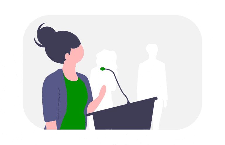 Illustratie van spreker bij event.