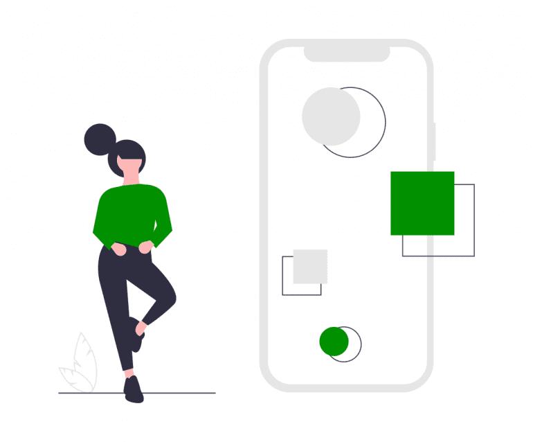 Illustratie van vrouw met telefoon-concept