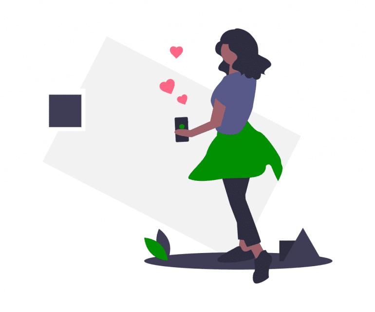 Illustratie van vrouw met telefoon waar hartjes uit komen