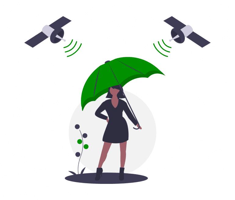 Illustratie van vrouw onder paraplu, beschermd tegen satelieten.