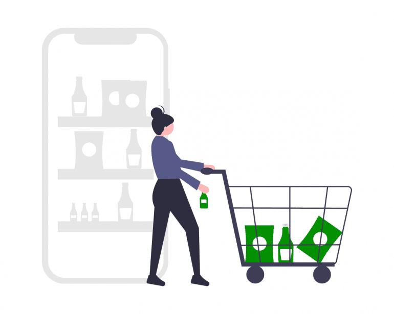 Illustratie van vrouw met winkelwagen.