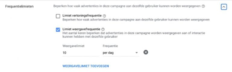 Adverteren YouTube frequentielimieten instellen