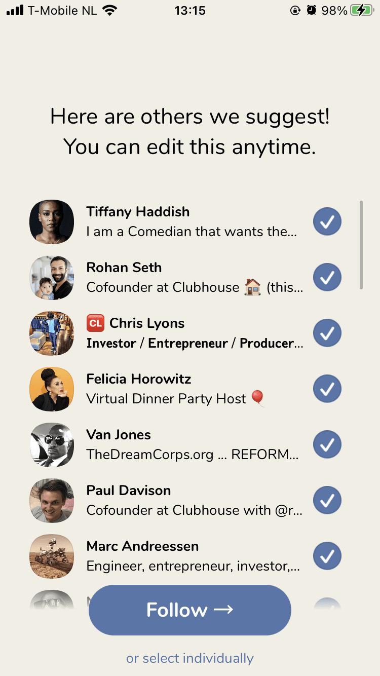 Screenshot van Clubhouse.