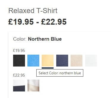 Webshop-design kleurenblinden voorbeeld van Gap.co.uk.