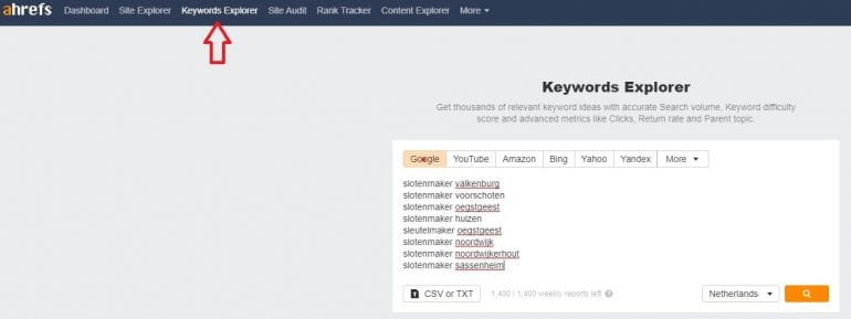 Ahrefs Bulk Keywords Explorer