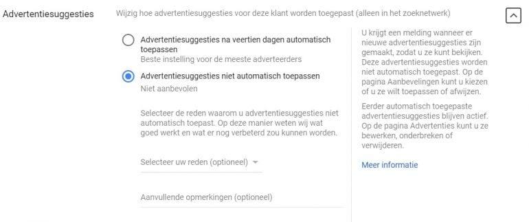 Screenshot van het schuifje voor Auto Applied Recommendations in Google.