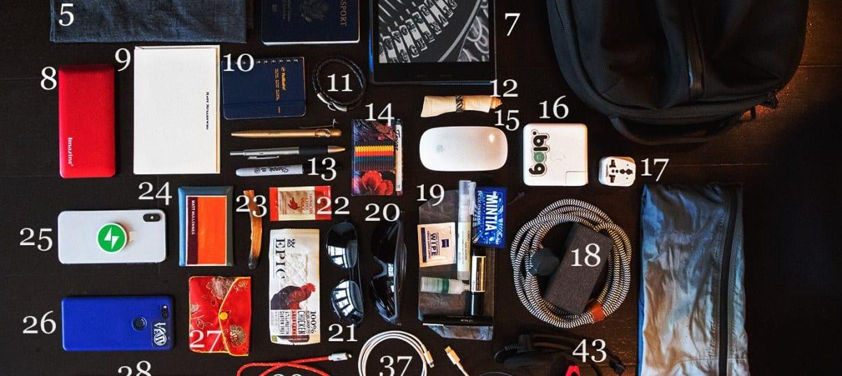 Een gevulde tas van Matt Mullenweg als checklist voor wat hij bij zich heeft.