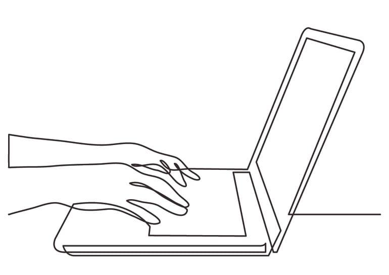 Lijntekening van een laptop.