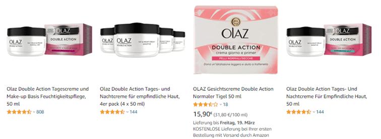 Vier verschillende producten van Olaz op Amazon