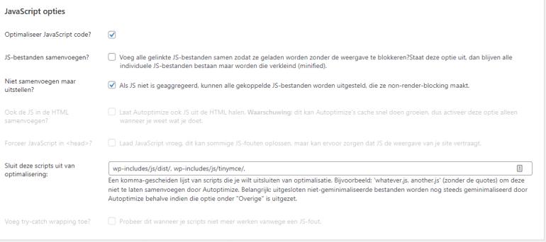 JavaScript opties.
