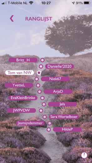 Screenshot van de ranglijst in Ommetje.