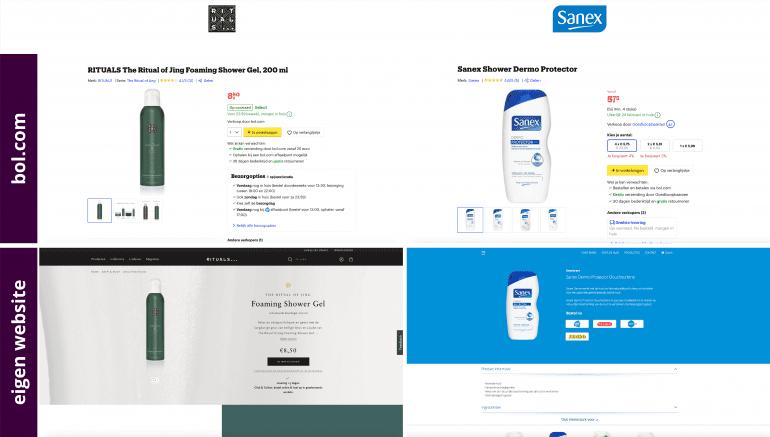 Je merk versterken met marketplaces - een productdetailpagina van twee douchegels op bol.com en hun eigen website