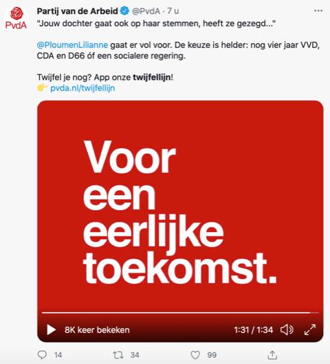 Screenshot van een Tweet van de Partij van de Arbeid.