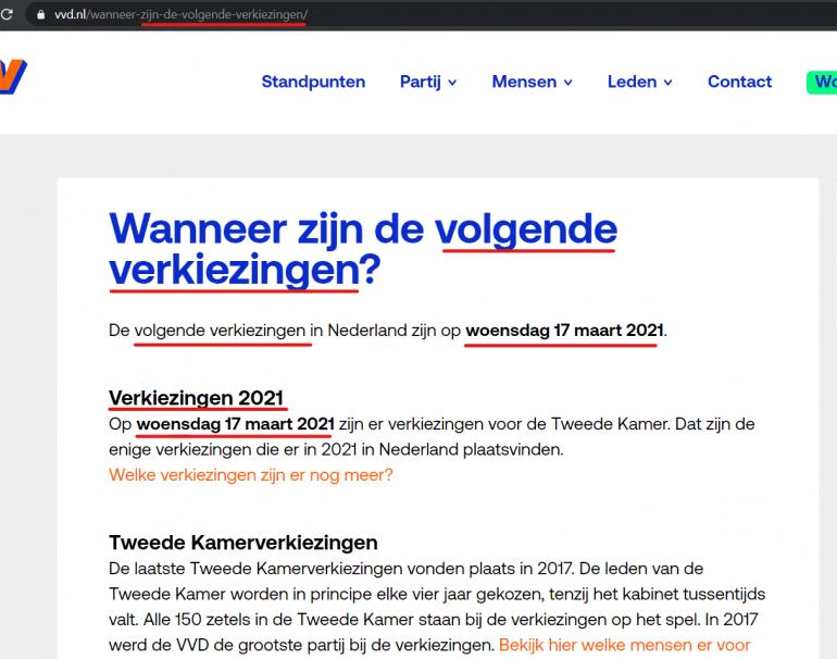 VVD heeft speciale pagina over volgende verkiezingen
