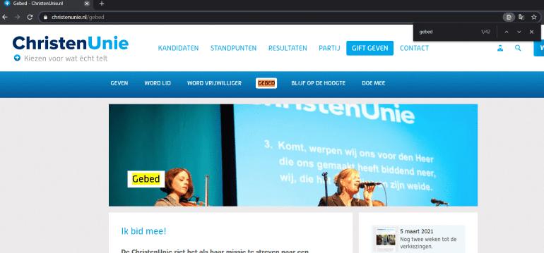 Screenshot van de website van ChristenUnie, een van de politieke partijen waar dit artikel over gaat.
