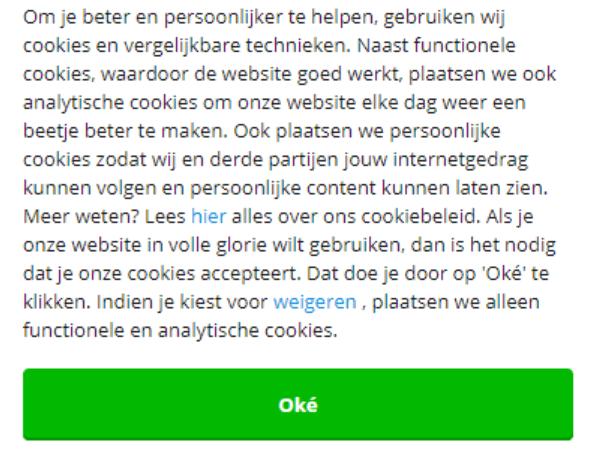 Een veel voorkomend type cookiemelding.