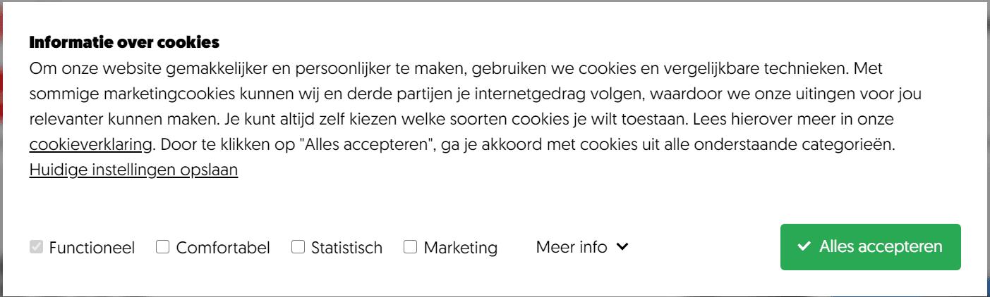 Een misleidende cookiemelding.