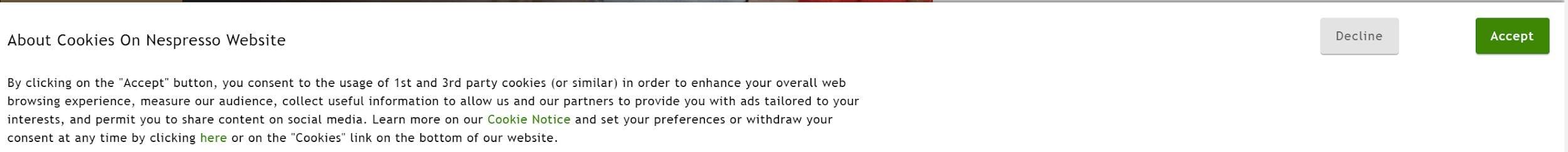 Screenshot van de website van Nespresso.