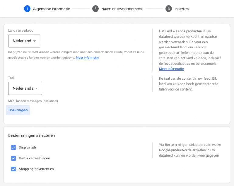 Algemene informatie invoeren in Google Merchant Center.