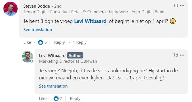 Screenshot van een reactie op een 1 april-grap.