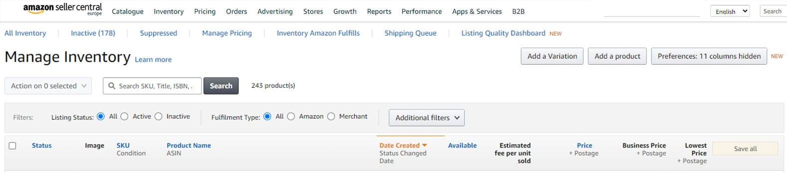 Screenshot Aamazon seller central: voorraadbeheer.