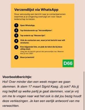 WhatsApp-verzendlijst van D66.