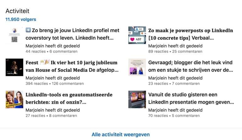 LinkedIn activiteitenoverzicht met Creatormodus.