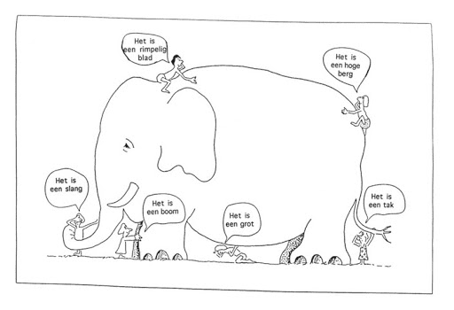 Afbeelding van de blinde mannen en de olifant