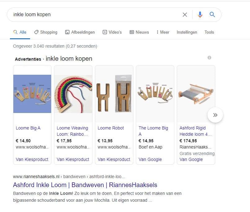 Screenshot van de CTR van commerciële zoekopdrachten in Google.