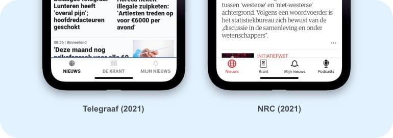 NRC en Telegraaf apps.