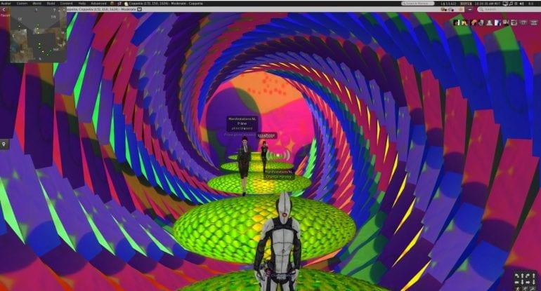 Voorbeeld van een virtuele wereld, met veel kleuren.