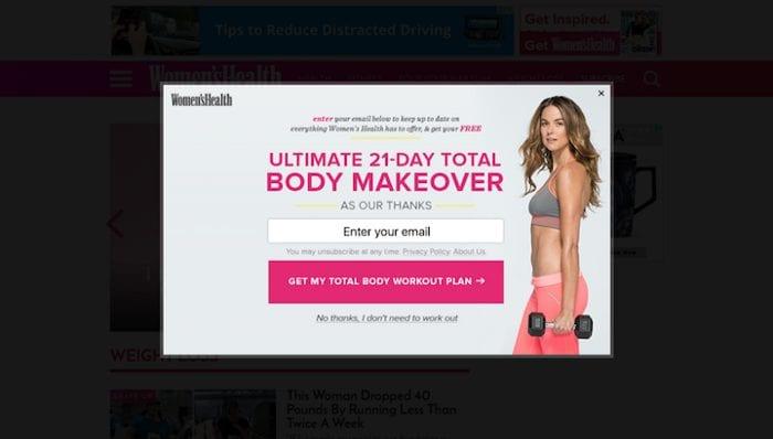 Women's Health popup confirmshaming.