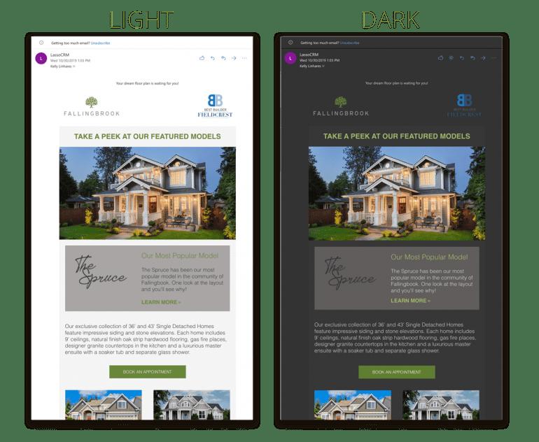 Een voorbeeld van een licht en donkere modus van een website
