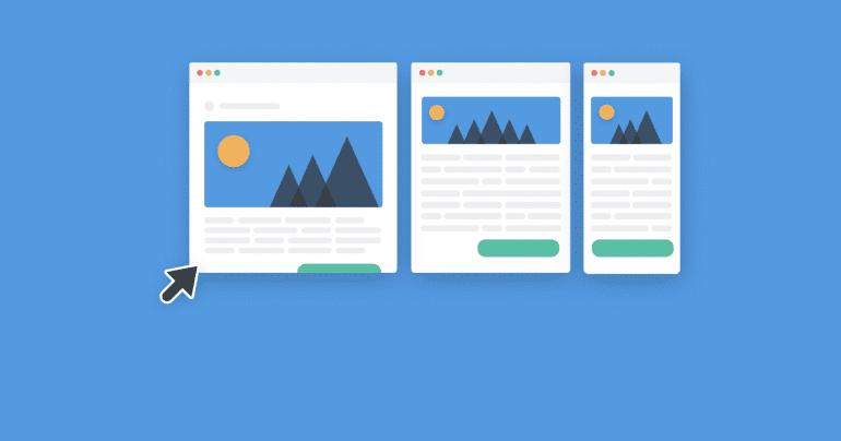 Vector afbeelding van een nieuwsbrief op drie verschillende formaten