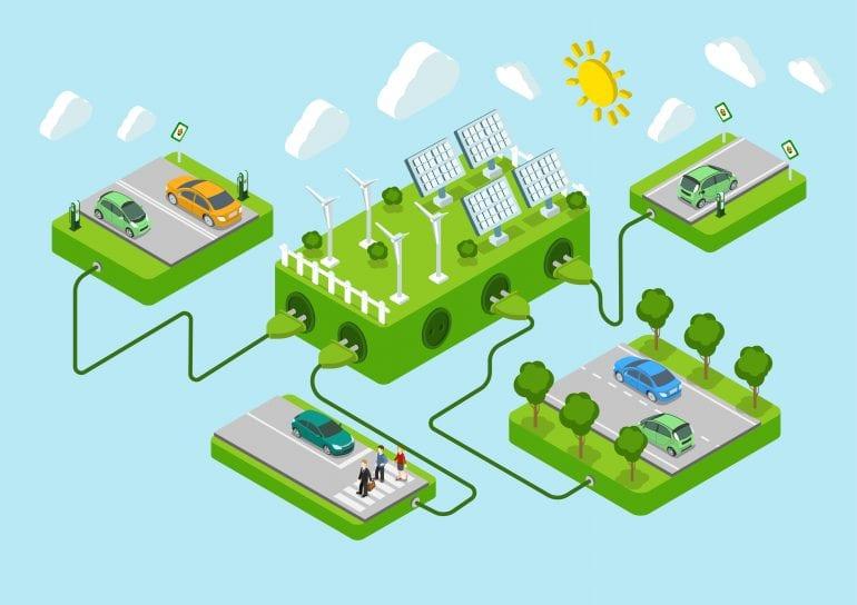 Afbeelding met elektrische auto's en energie.