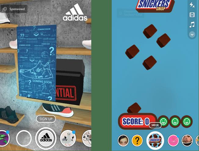 Twee snapchat lenzen naast elkaar afgebeeld. Rechts een gesponsorde lens van adidas waarop schoenen te zien zijn. Links een gesponsorde lens door Snickers waarin een mini-game gespeeld kan worden, waarbij geklikt moet worden op vallende snickers.