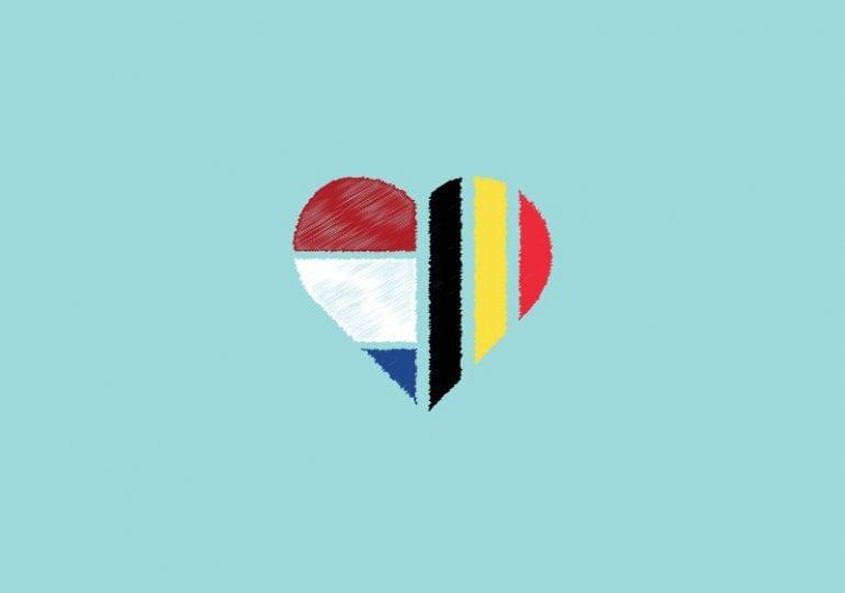 Hart met de ene helft een getekende Nederlandse vlag, andere helft getekende Belgische vlag.